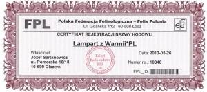 Certyfikat rejestracji nazwy hodowli